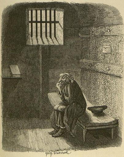 Cruikshank, fagin en su celda, 1836