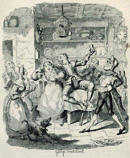 Cruikshank. The Mudfog Papers ,1837–38.Tom twigger en la cocina de Mudfog House