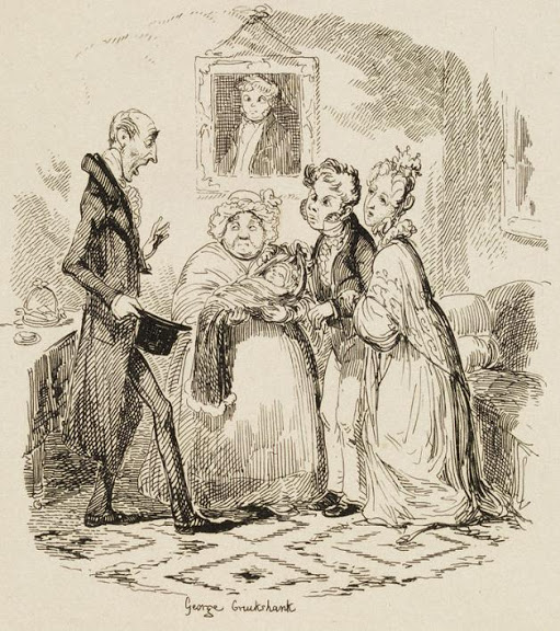 George Cruikshank. The Bloomsbury Christening, Sketches by Boz by Charles Dickens,