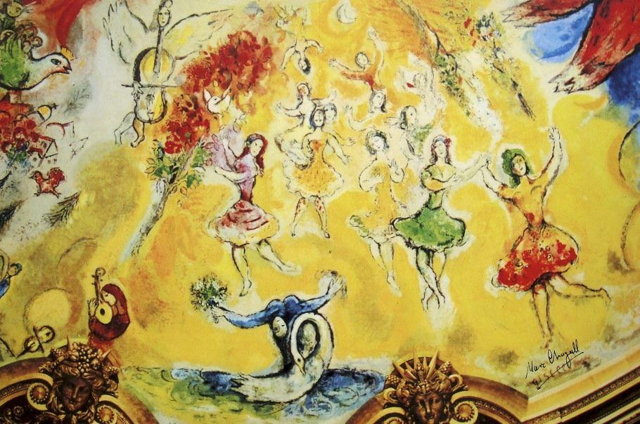 Detalle de la parte de Tchaikowsky en el techo de la Ópera (ballet El lago de los cisnes)