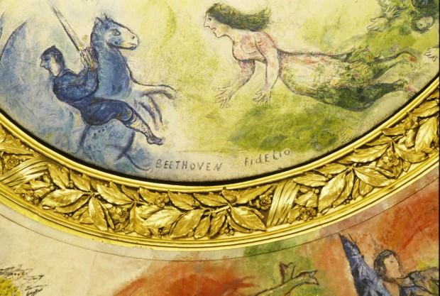 Detalle de la parte de Beethoven en el techo de la Ópera (representación de la ópera Fidelio)
