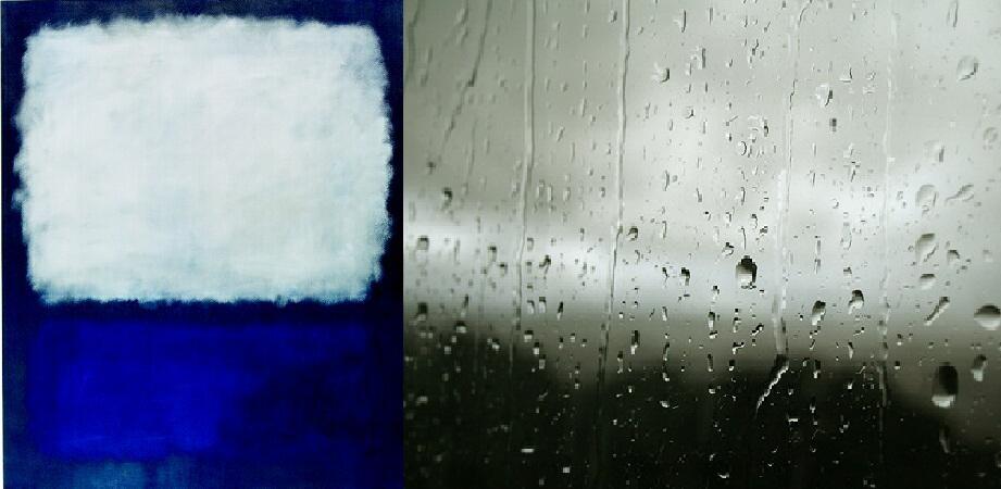 Comparación Rothko Blue and Grey con lluvia en la ventana