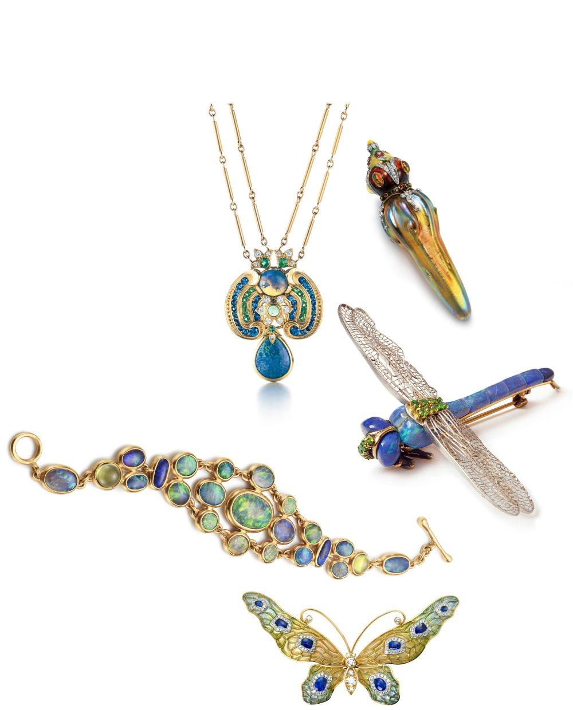 Collar de ópalo negro Ópalos negros, diamantes, esmeraldas y zafiros adornan este collar de inspiración india