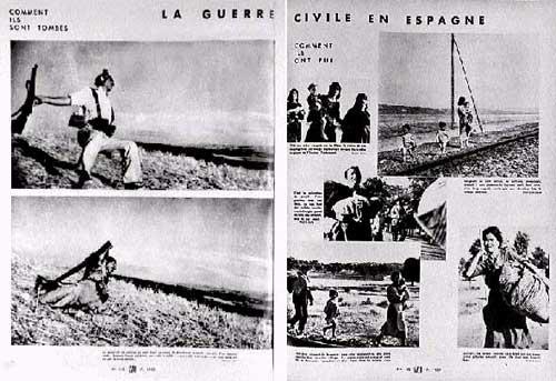 Reportaje sobre la Guerra Civil española de Robert Capa para una revista francesa. Incluye la foto del miliciano muerto.