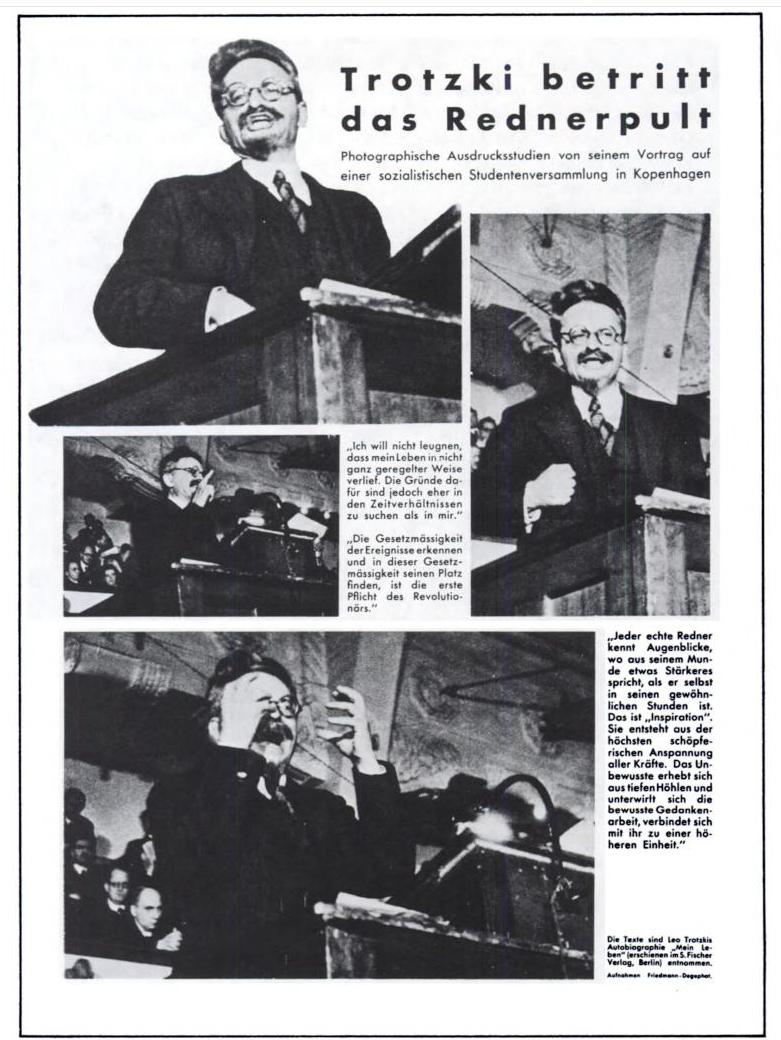 Reportaje sobre Trotsky en Dinamarca. En la parte de abajo, como autor de las fotos, aparece el verdadero nombre de Capa, Friedmann.
