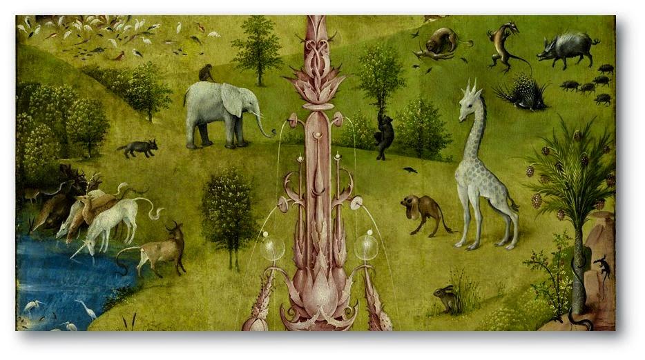 En este detalle se pueden observar un unicornio y un extraño perro bípedo entre otros animales reales