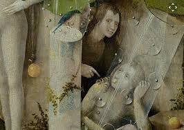Detalle de Adán y Eva en el panel central de El jardín de las delicias